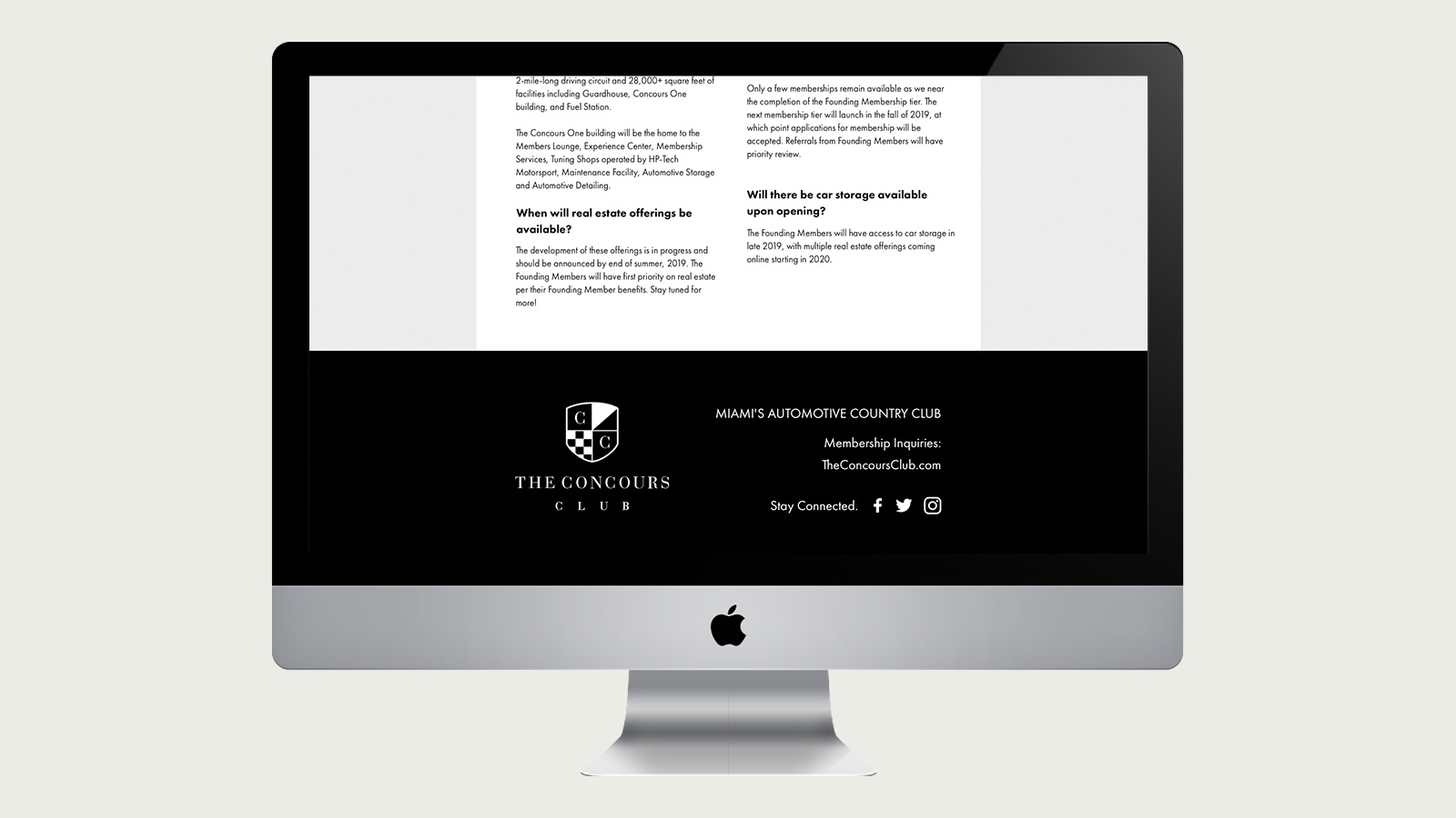 The Concours Club Landing Page