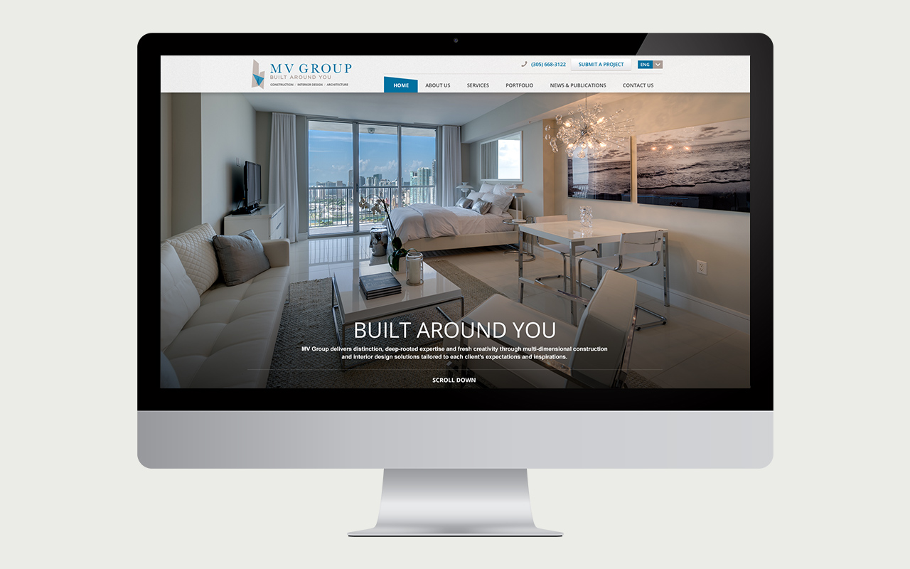 miami digital agency website for MV construction group